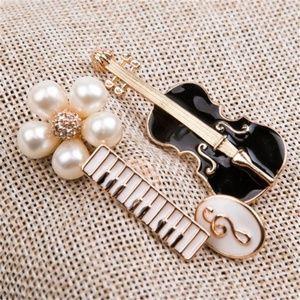 Set of 4 Music Pins Brooches Keyboard Violin Clef